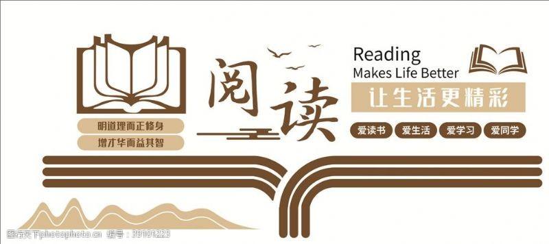 校园挂图 阅读图书馆阅览室文化墙图片