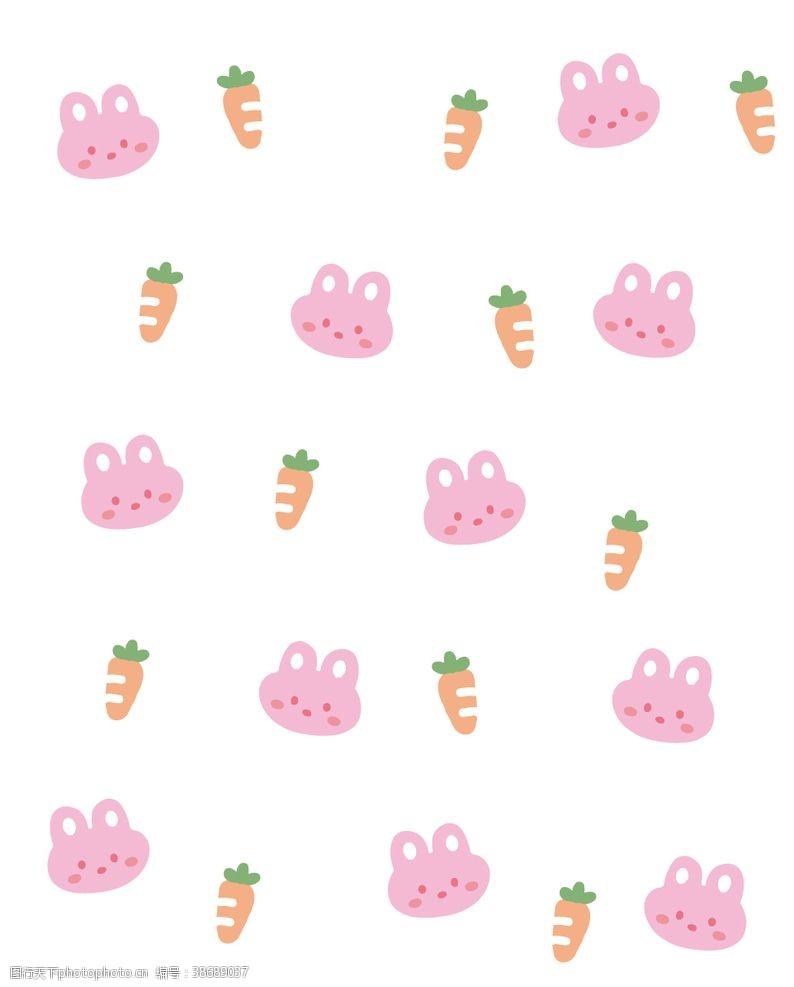 手账素材卡通兔子胡萝卜背景