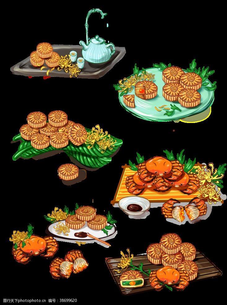 荷叶灯月饼素材