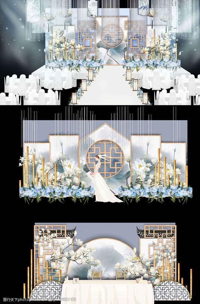天蓝色中式唯美花鸟婚礼舞台签到迎宾区图片