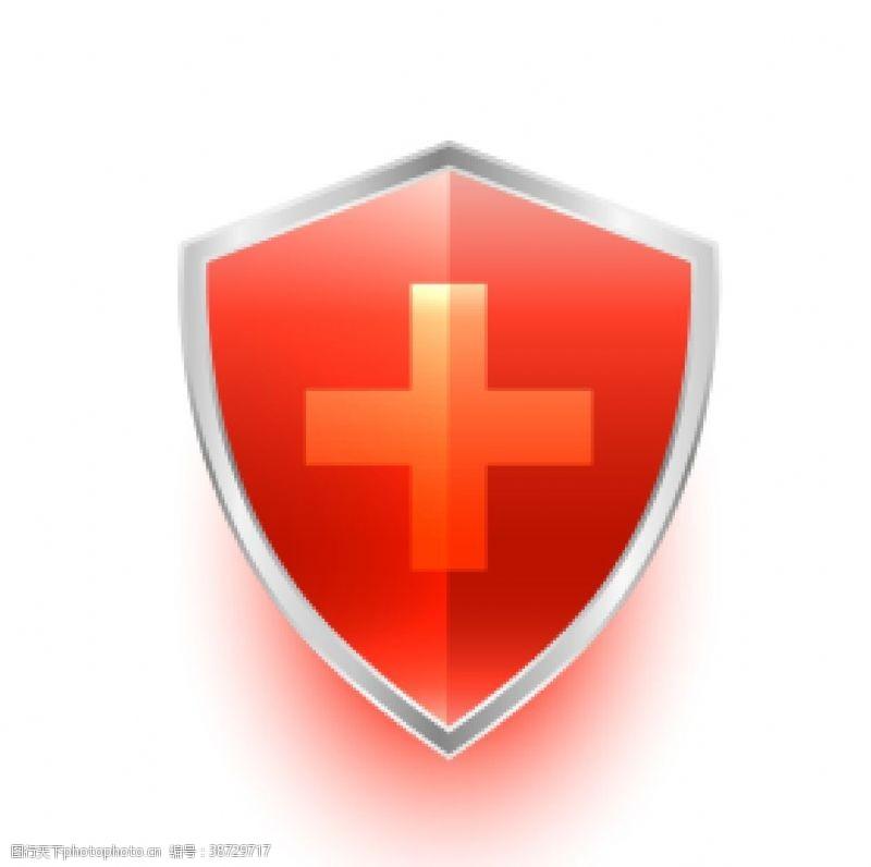 金属盾牌红色十字架盾牌