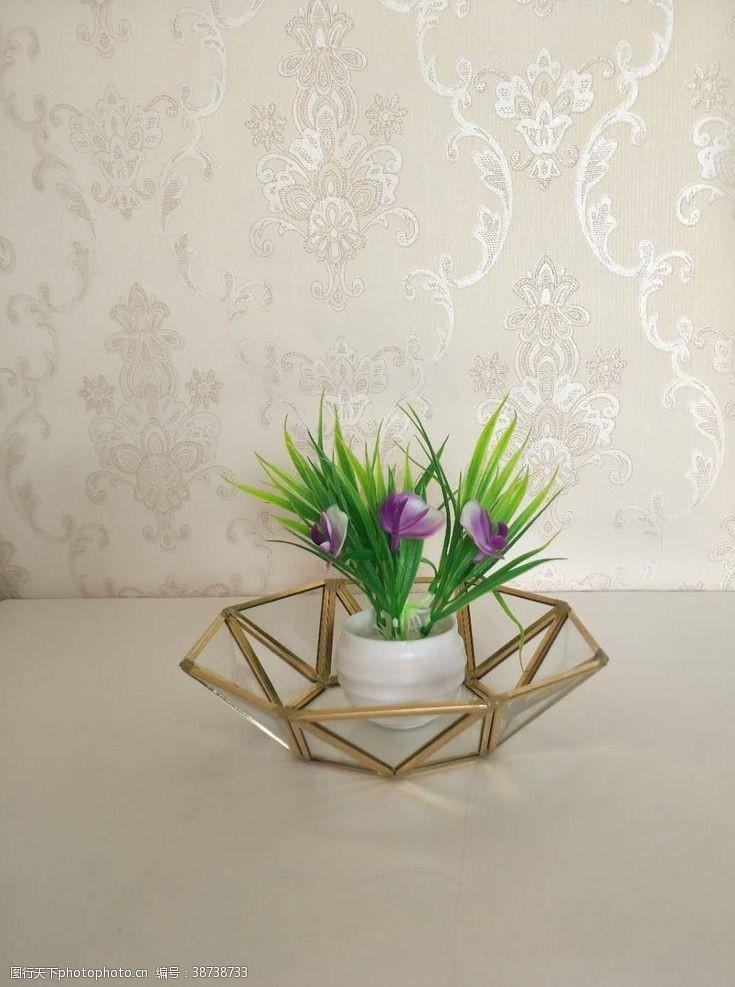 室内装饰品几何多边形玻璃花房摆件实拍图