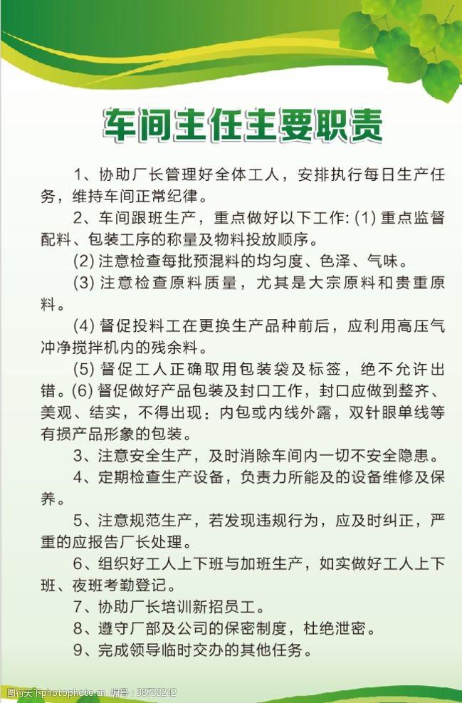 学校展板模板车间主任主要职责绿色制度