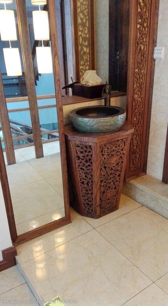 中式洗手盆設計木雕藝術