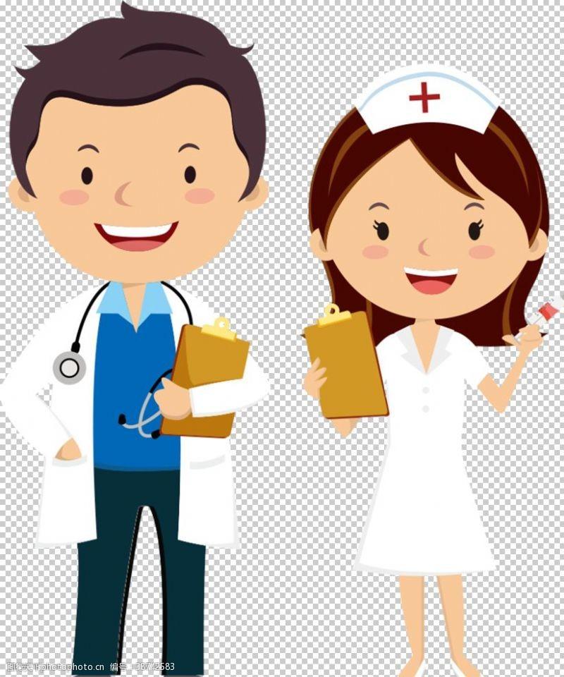 卡通护士医护人员