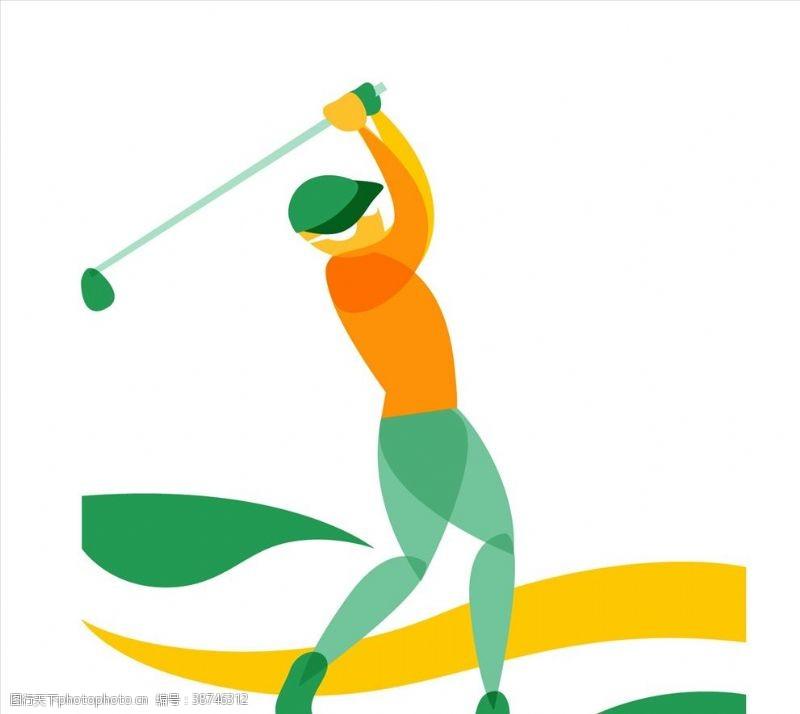 高尔夫挥杆高尔夫球手