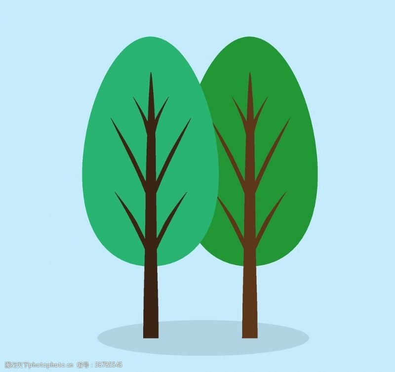 绿背景卡通树