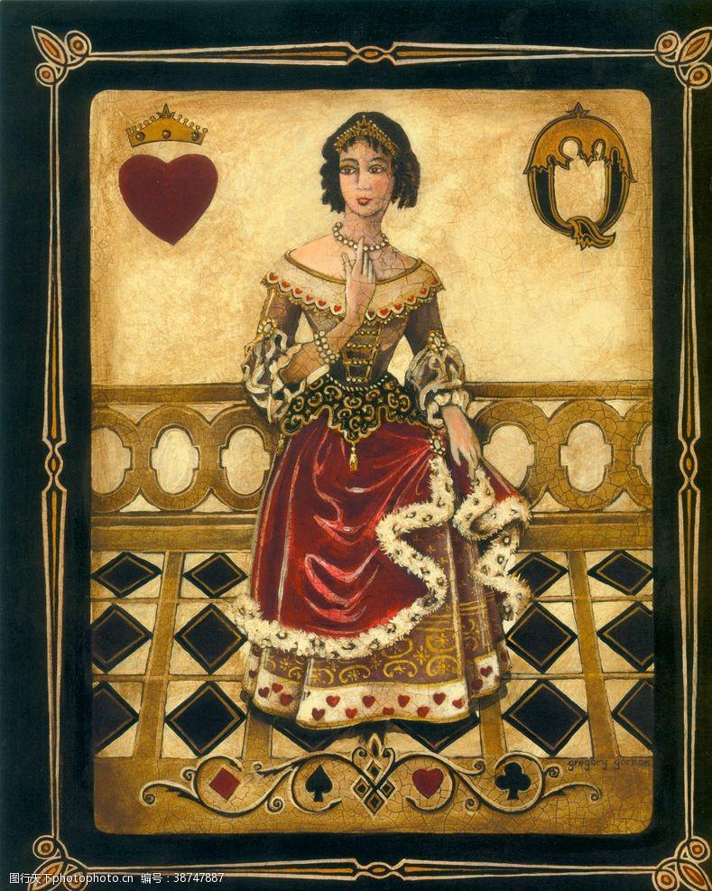 美式扑克牌人物装饰画