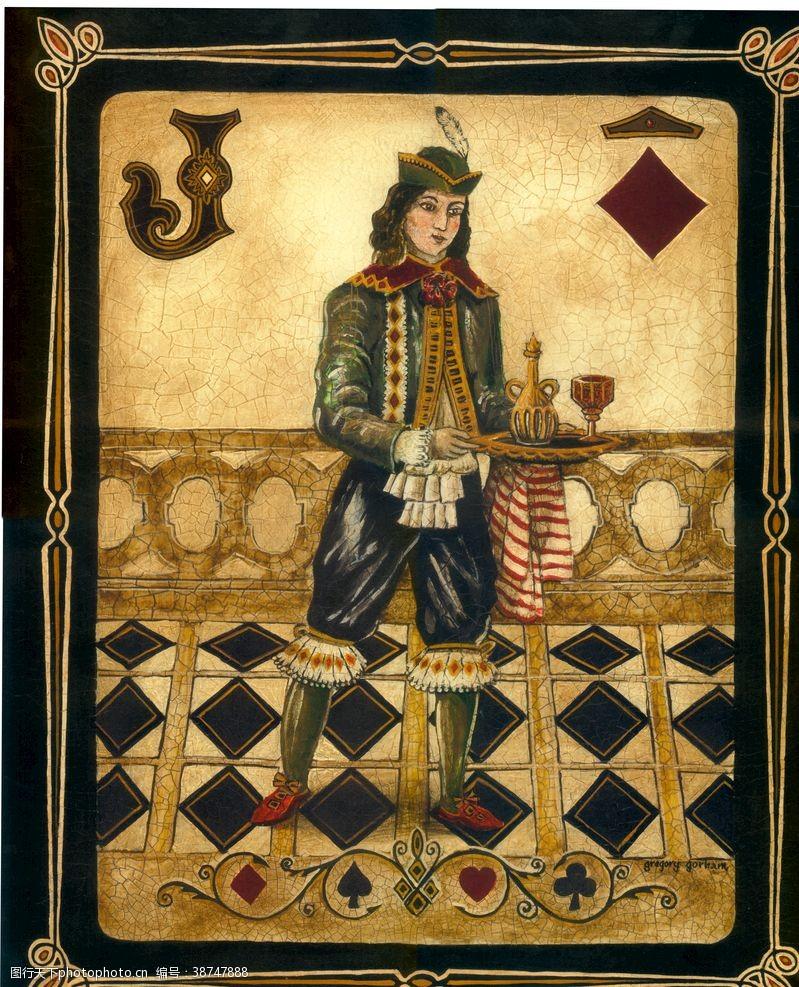 美式扑克牌装饰画
