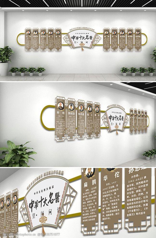 医院文化中国风十大名医介绍文化墙