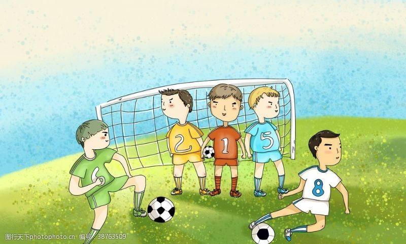 足球运动漫画海报