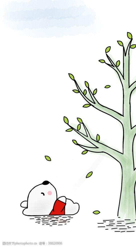 树木卡通创意落叶小熊