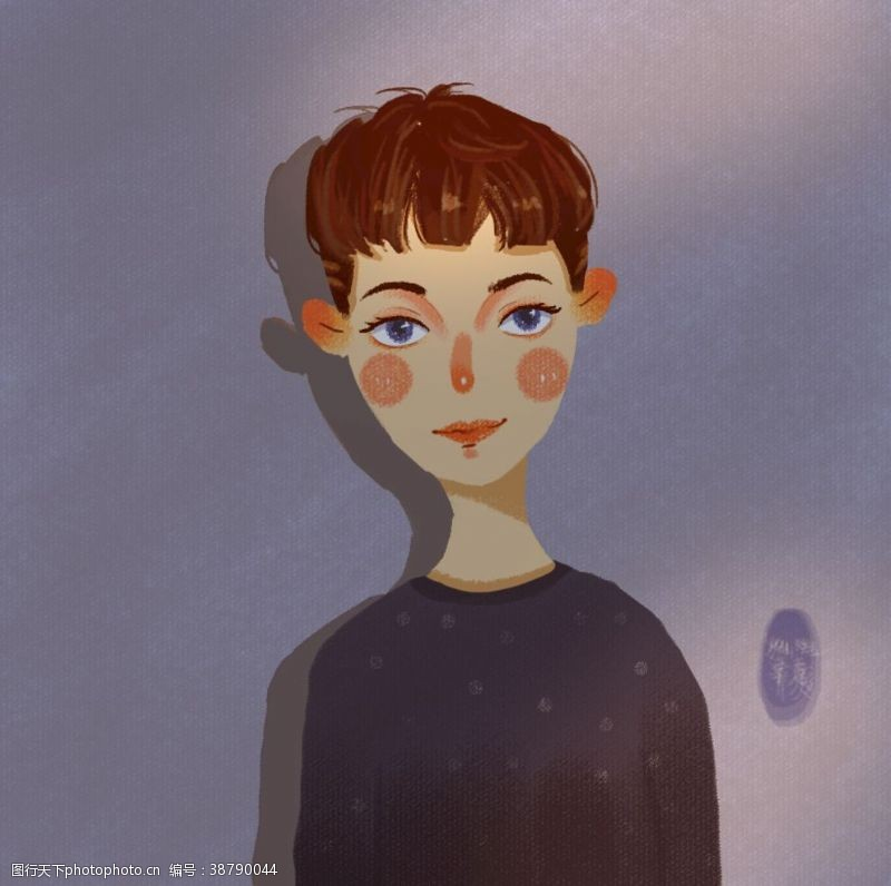 插画头像光影男孩