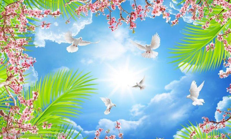花鸟画梅花鸽子背景墙