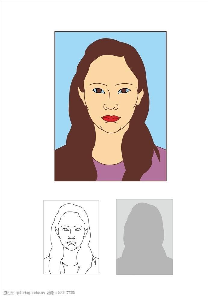 矢量图 报名照女图片