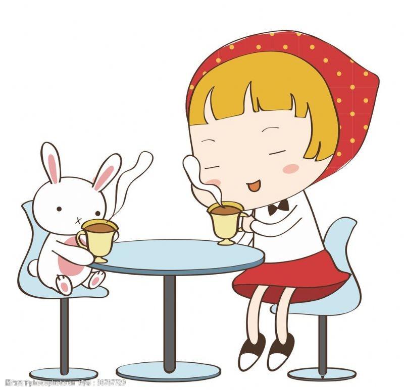 png透明底卡通人物兔子与女孩