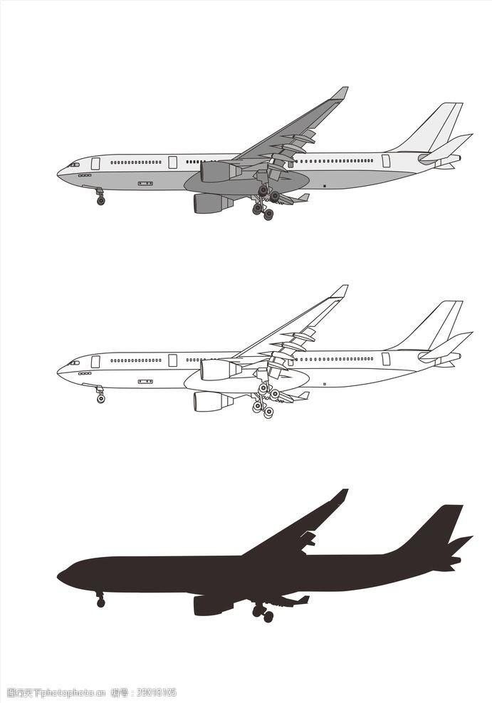 矢量图 飞机侧正图片