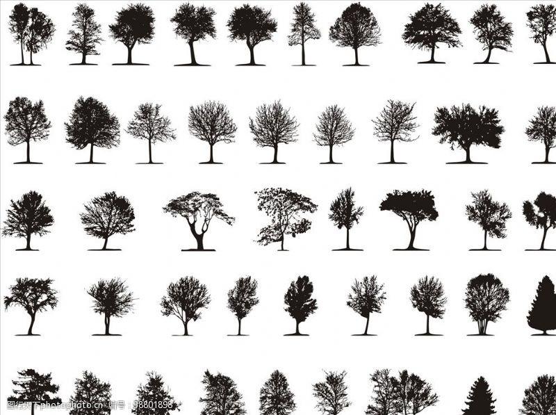 树木卡通树剪影