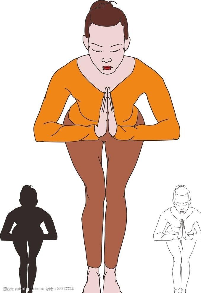 健美 瑜伽弯腰合掌图片