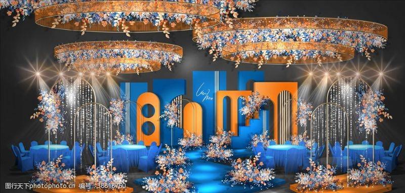 蒂芙尼蓝婚礼 欧式蓝色婚礼舞台效果图图片
