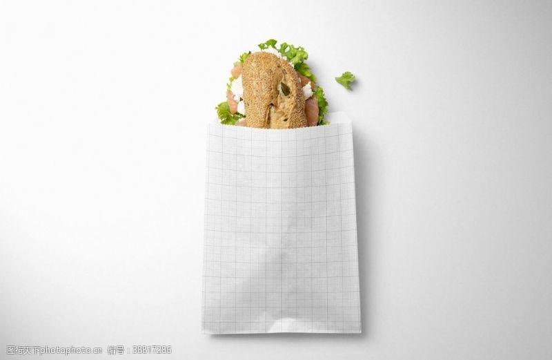 牛皮纸样机三明治小吃纸袋样机集