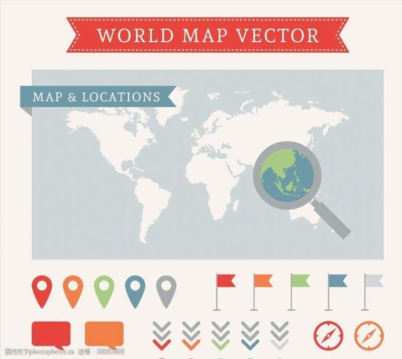 世界地图和指针