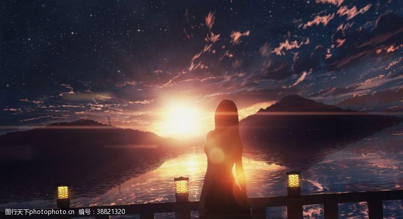 动漫场景夕阳