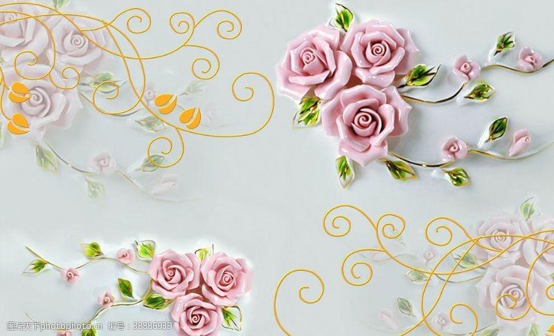 浮雕背景墙玉雕花朵背景墙