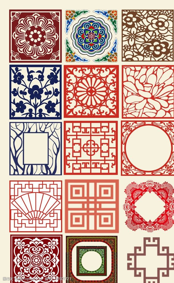 传统边框中国风装饰花纹素材
