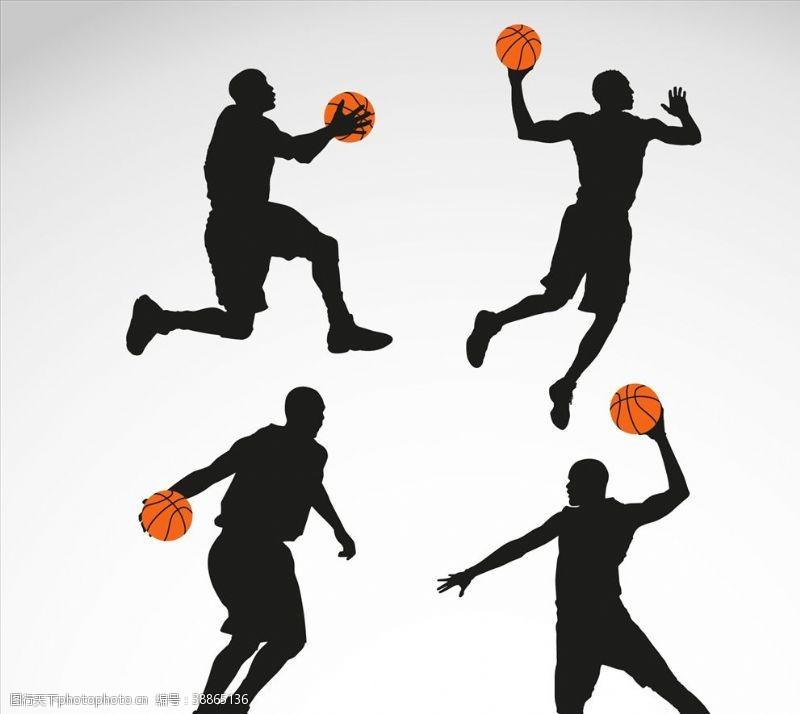 篮球剪影篮球运动员剪影
