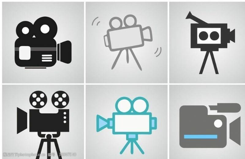 拍电影 摄像机矢量图片