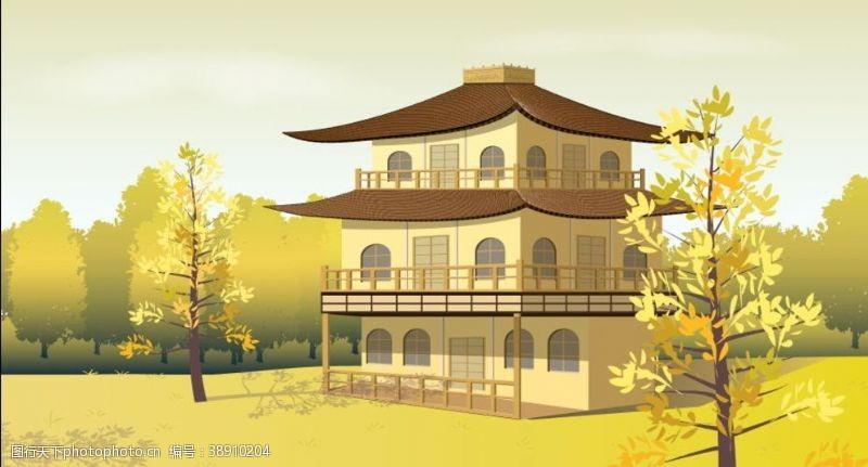 手绘古代建筑背景