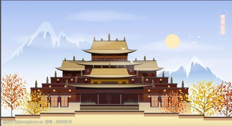 手绘古代建筑设计
