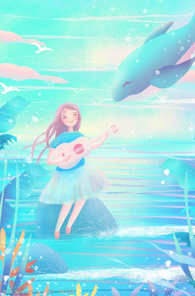唯美海洋唯美梦幻治愈鲸鱼插画