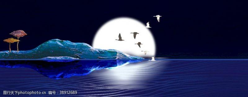 海报设计中秋节简约蓝色海面背景素材
