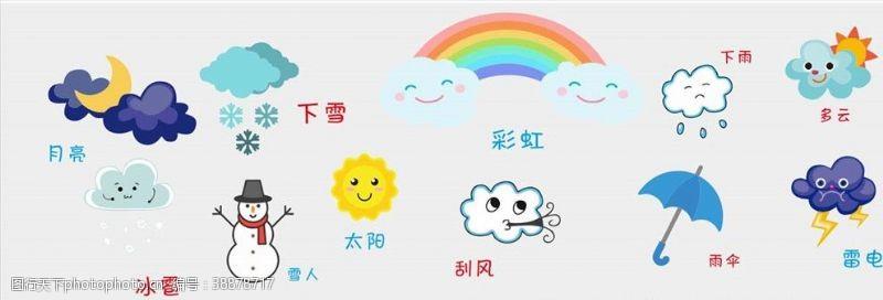 中雨卡通天气图标识矢量图