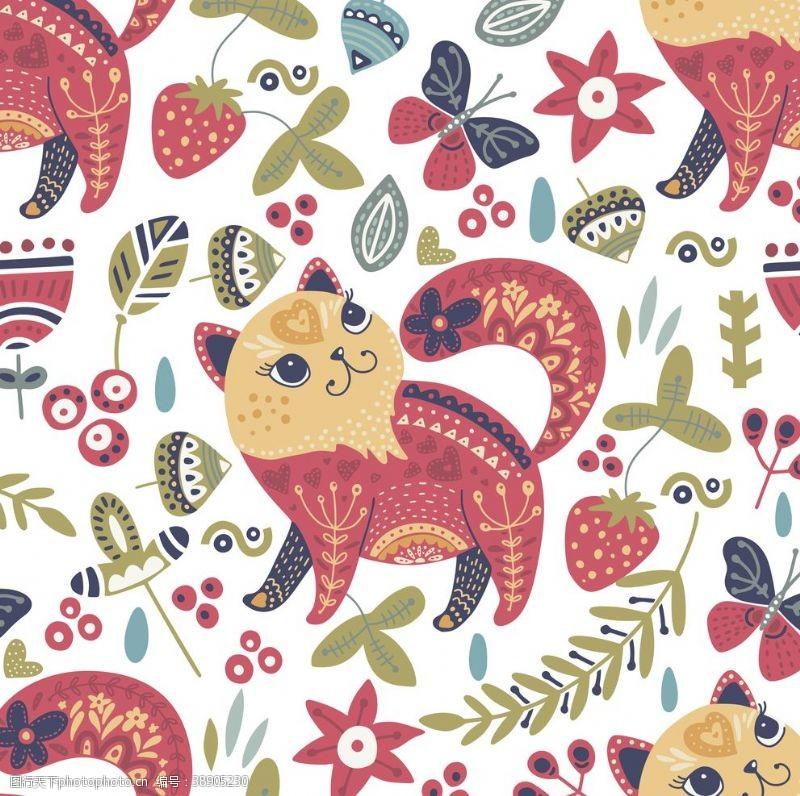 韩式可爱小猫咪花纹背景