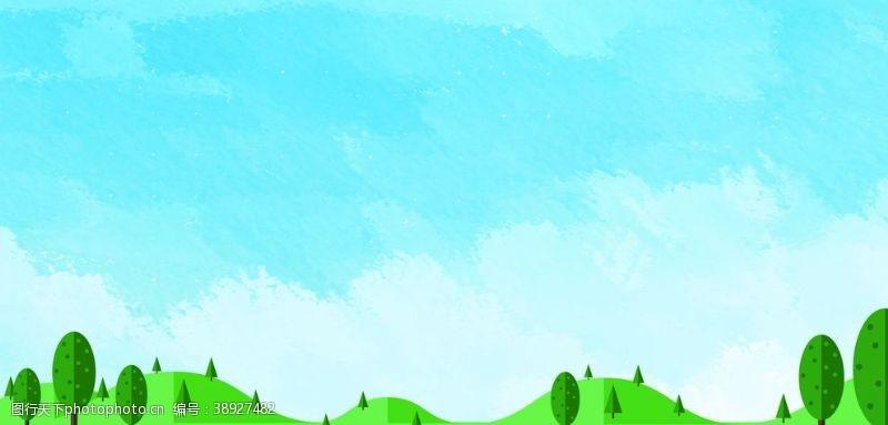 树木剪影 喷绘背景易拉宝背景图片