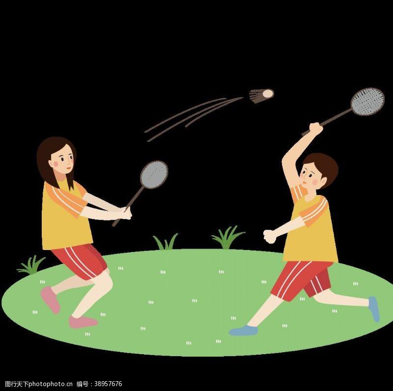 打球 情侣打羽毛球插画图片