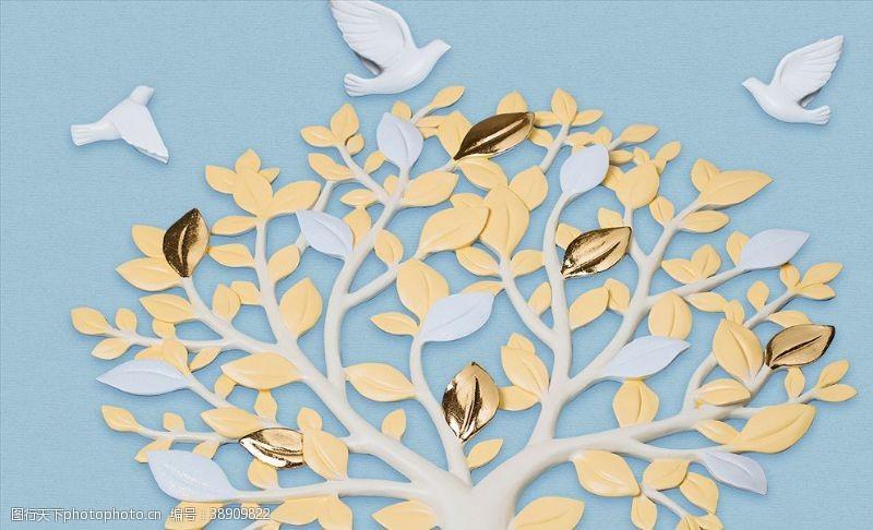 浮雕背景墙现代简约3D浮雕发财树飞鸟背景