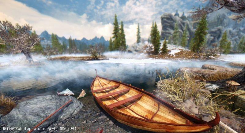 田园风光小船