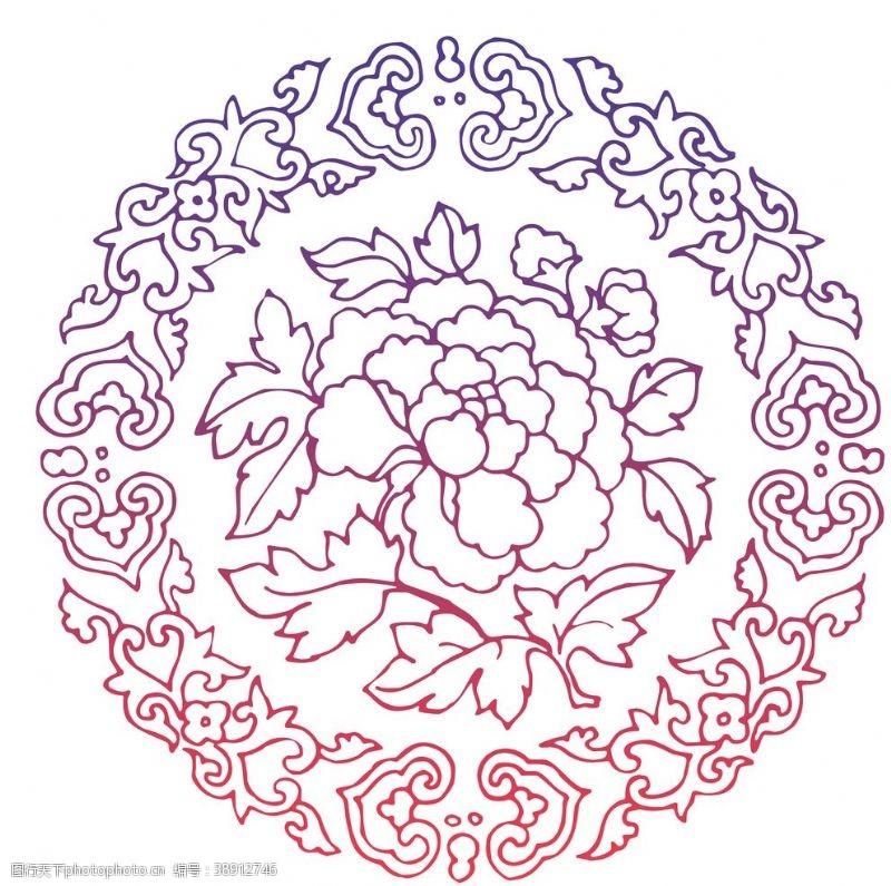 高清透明中国风牡丹花纹素材