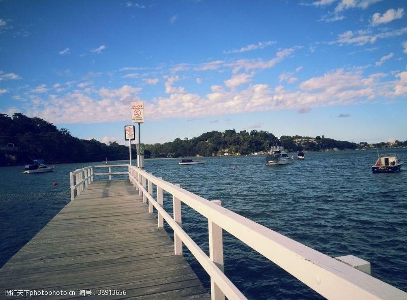 黄昏美景 码头风景图片
