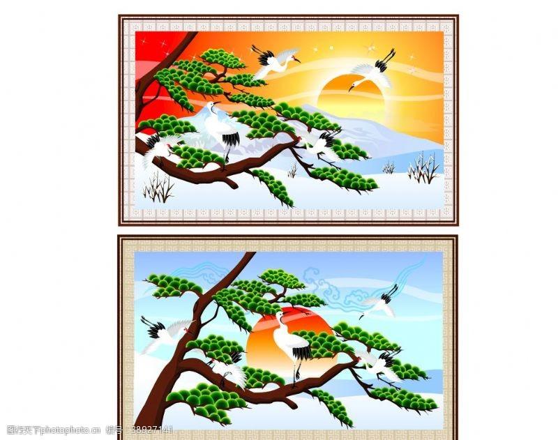 传统节日文化 仙鹤松树图片