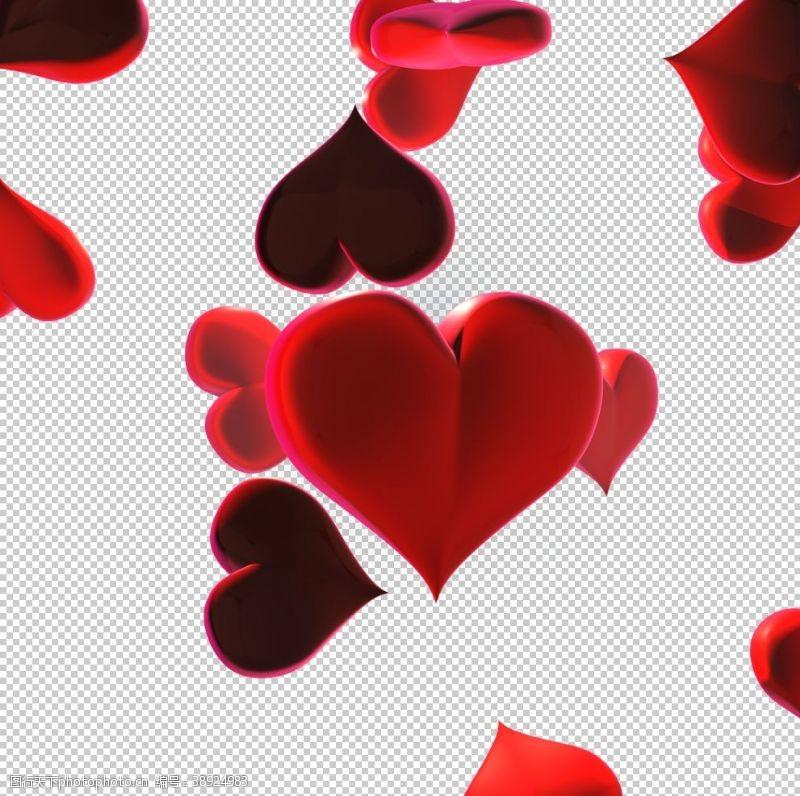 情人节展板 3D立体心形素材图片