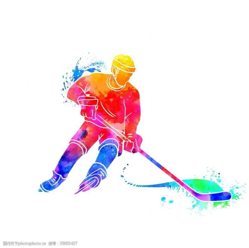 体育项目 创意冰球运动员剪影图片