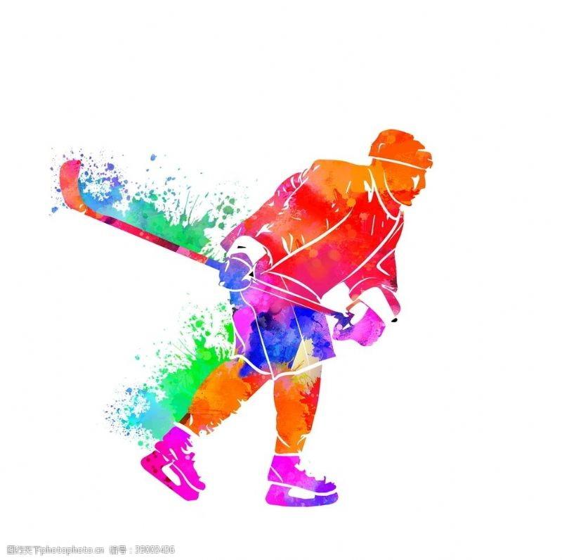 体育项目 创意冰球运动员炫彩泼墨剪影图片