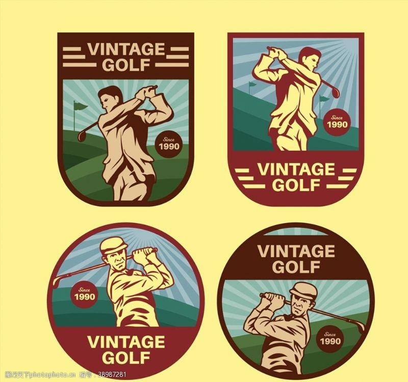 高尔夫球人物标签图片