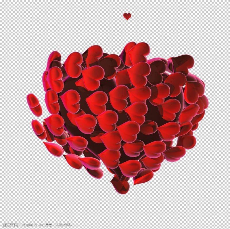 情人节展板 立体心形素材图片