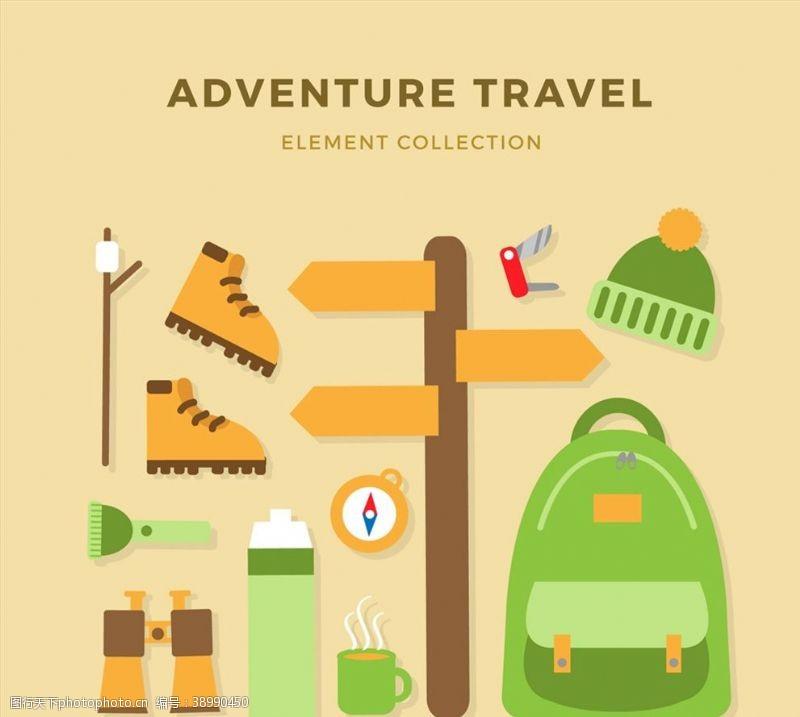 登山鞋 绿色探险旅行元素图片